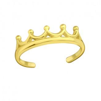 "Pozlacený stříbrný prsten na nohu ""Korunka"". gp. Ag 925/1000"