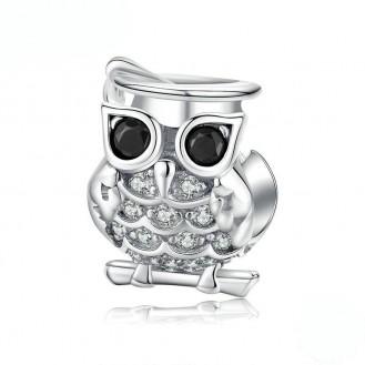 """Stříbrný přívěsek se zirkony na náramek Pandora """"Moudrá sova"""". Ag 925/1000"""