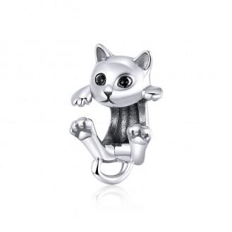 """Korálek stříbrný na náramek Pandora """"Hravá kočička"""". Ag 925/1000"""