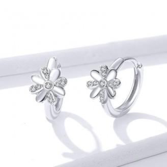 """Stříbrné náušnice se zirkony """"Květiny"""". Ag 925/1000"""