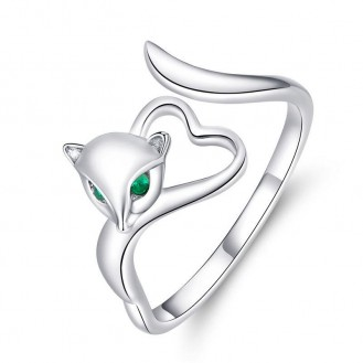 """Stříbrný prsten se zirkony """"Zelenooká liška"""". Ag 925/1000"""