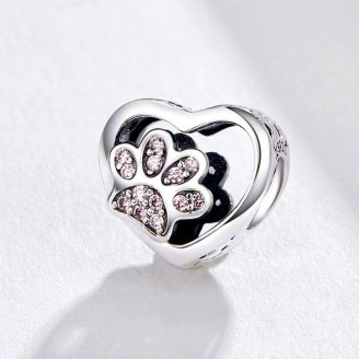 """Stříbrný korálek se zirkony na náramek Pandora """"Stopy zvířat"""". Ag 925/1000"""