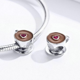 "Stříbrný korálek na náramek Pandora ""Šálek kávy"". Ag 925/1000"