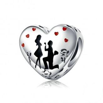 "Stříbrný korálek na náramek Pandora ""Vyznání lásky"". Ag 925/1000"