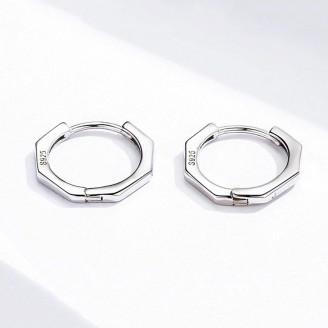 """Stříbrné náušnice kruhy """"Osmiúhelníky"""". Ag 925/1000"""