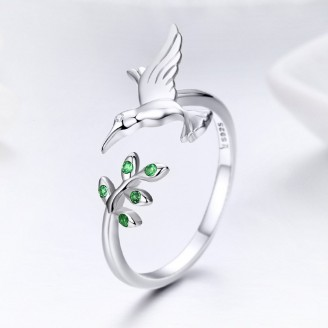 """Stříbrný prsten se zirkony """"Stříbrný pták"""". Ag 925/1000"""