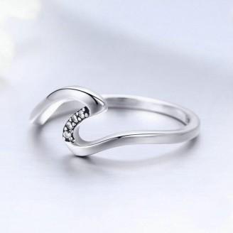 """Stříbrný prsten se zirkony """"Vlnový hřeben"""". Ag 925/1000"""