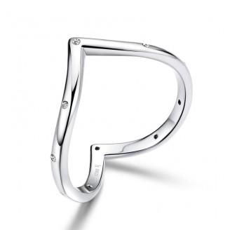 """Stříbrný prsten se zirkony """"V-Ring"""". Ag 925/1000"""