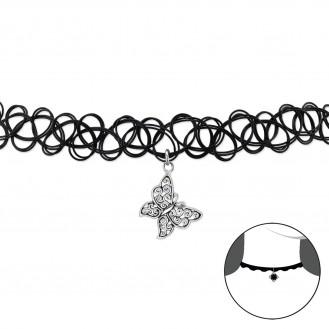 """Choker náhrdelník se stříbrným přívěskem """"Motýlek"""". Ag 925/1000"""