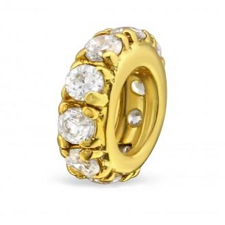 """Pozlacený stříbrný korálek se zirkony na Pandora náramek """"Rachael"""". Ag 925/1000"""