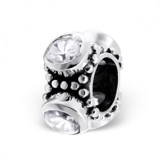 "Stříbrný korálek se zirkony na náramek Pandora ""Diona"". ox. Ag 925/1000"