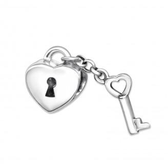 """Korálek stříbrný na náramek Pandora """"K srdci klíč"""". Ag 925/1000"""