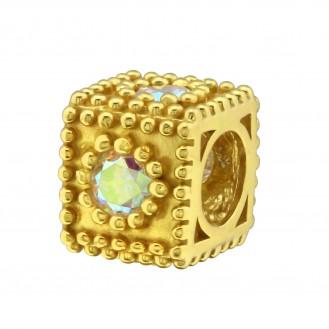 """Pozlacený stříbrný korálek se zirkony na Pandora náramek """"Harena"""". Ag 925/1000"""