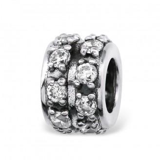 """Stříbrný korálek se zirkony na náramek Pandora """"Dita"""". Ag 925/1000"""