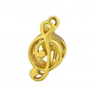 """Pozlacený stříbrný korálek na náramek Pandora """"Zlatý houslový klíč"""". GP Ag 925/1000"""