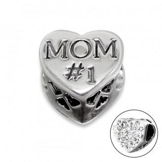 """Korálek stříbrný s krystaly na Pandora náramek """"Mom #1"""". Ag 925/1000"""
