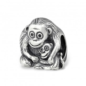 "Korálek stříbrný na náramek Pandora ""Opičky"". Ag 925/1000"