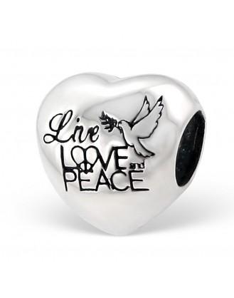 "Korálek stříbrný na náramek Pandora ""Love and Peace"". Ag 925/1000"