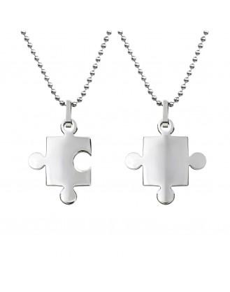 """Souprava ocelových náhrdelníku z chirurgické oceli """"Puzzle"""""""
