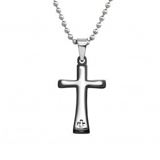 """Ocelový náhrdelník z chirurgické oceli """"Kříž"""""""