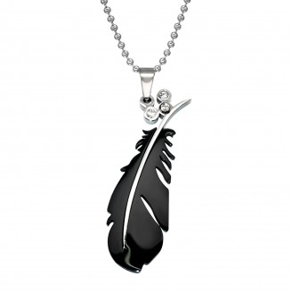 """Ocelový náhrdelník z chirurgické oceli """"Černé pírko"""""""