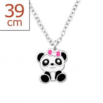 """Dětský náhrdelník stříbrný """"Panda s růžovou mašličkou"""". Ag 925/1000"""