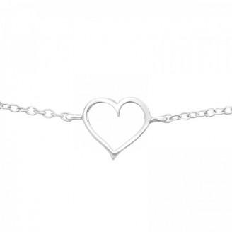 """Stříbrný řetízkový náramek """"Heart"""". 16-19. Ag 925/1000"""