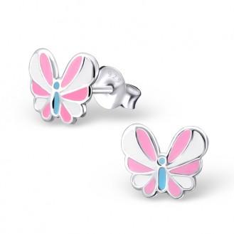 """Dětské náušnice stříbrné """"Růžové motýlky"""". Ag 925/1000"""
