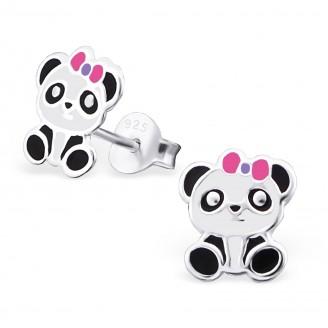 """Dětské stříbrné náušnice """"Panda"""". 7x9. Ag 925/1000"""