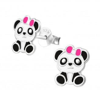 """Dětské stříbrné náušnice """"Panda"""". 8x9. Ag 925/1000"""