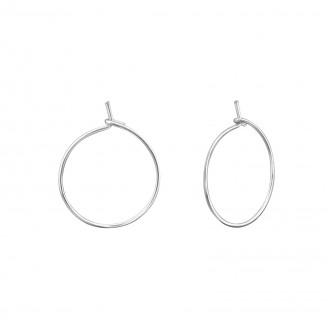 "0,6x14 Stříbrné kruhové náušnice ""Tempus"". Ag 925/1000"