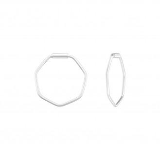 """0,8x14 Stříbrné kruhové náušnice """"Šestiúhelníky"""". Ag 925/1000"""