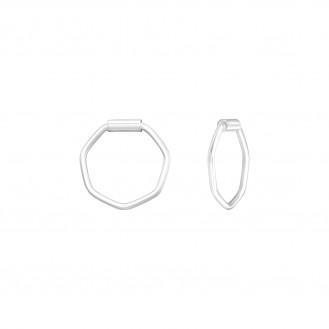 """0,8x10 Stříbrné kruhové náušnice """"Šestiúhelníky"""". Ag 925/1000"""