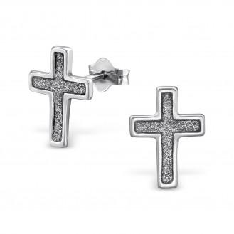 """Stříbrné náušnice pecky """"Crucis"""". Ag 925/1000"""