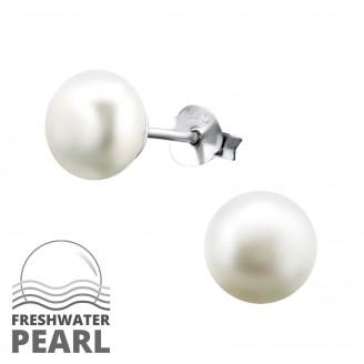 """Dámské stříbrné náušnice se říční perly """"Classic"""".7. Ag 925/1000"""