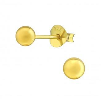 """Stříbrné pozlacené náušnice pecky """"Kuličky"""" 4 x 4. Ag 925/1000"""