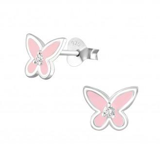"""Dětské stříbrné náušnice se zirkony """"Stříbrné motýlky"""". Ag 925/1000."""