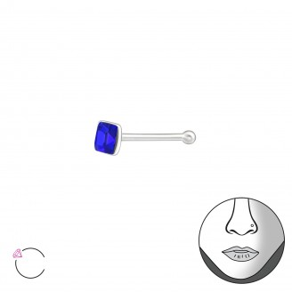 """Nosovka rovná stříbrná s krystalem """"Aura"""" . Ag 925/1000"""