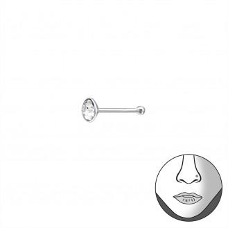 """Nosovka rovná stříbrná s krystalem """"Stillae"""" . Ag 925/1000"""