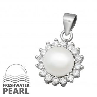 """Stříbrný přívěsek se zirkony a sladkovodní perlou """"Luceat"""". Ag 925/1000"""