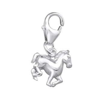 """Stříbrný přívěsek s karabinkou na náramek """"Kůň"""". Ag 925/1000"""