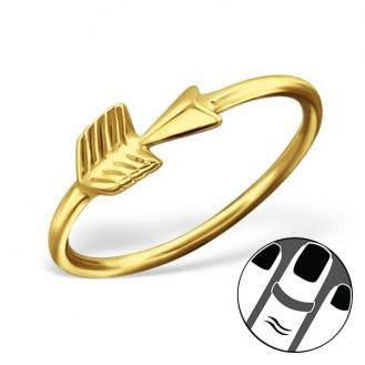 "Pozlacený midi prsten ze stříbra ""Arrow"". gp. Ag 925/1000"