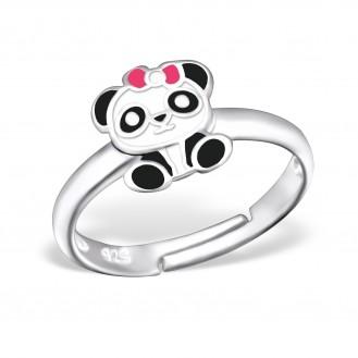 """Stříbrný prsten dětský nastavitelný """"Roztomilá panda"""". Ag 925/1000"""