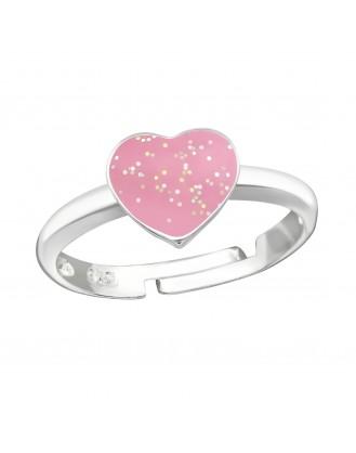 """Dětský stříbrný prsten """"Růžové srdíčko"""". Ag 925/1000"""