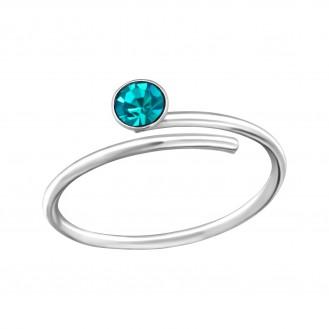 "Stříbrný prsten s krystaly na nohu ""Adfectatio"". Ag 925/1000"