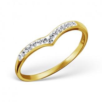"""Stříbrný prsten pozlacený s krystaly """"Patricia"""". Ag 925/1000"""