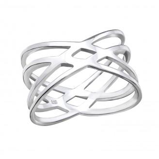 "1x12 Stříbrný prsten ""Web"". Ag 925/1000"