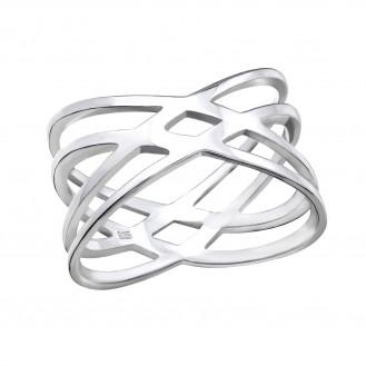 "Stříbrný prsten ""Web"". 1x12 Ag 925/1000"