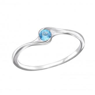 """Stříbrný prsten se zirkonem """"Modré světlo"""". Ag 925/1000"""