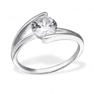 """Stříbrný prsten se zirkony """"Split"""". Ag 925/1000"""